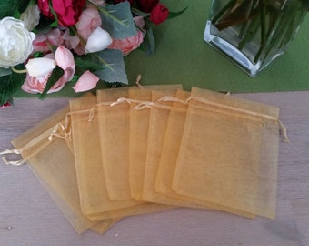10x Gold Organza Bags for Weddings, Gifts, Baby Showers, Brides maids gifts, Bonbonniere, Jewelry packaging, Wedding Favors etc