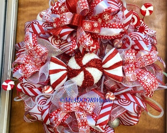 Candy Cane Wreath, Christmas Deco Mesh Whimsical Wreath, Christmas Candy Cane Wreath, Holiday Candies Wreath, Peppermint Wreath Decor,