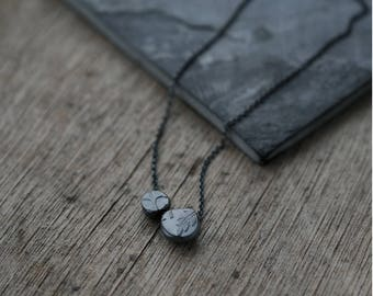 Keepsake Fern pebbles in oxidised silver pendant necklace