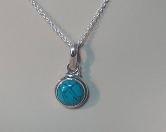 Silver turquoise pendant; free shipping; 92.5 sterling