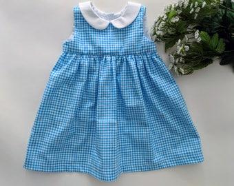 12-18 Mo Blue Gingham Sleeveless Dress