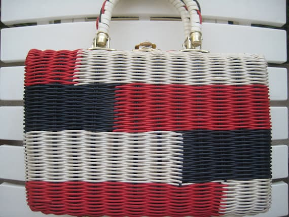 Classic Wicker Weave Bag in Red, Navy & White