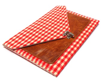 iPad / iPad Air case with leather pocket - red and white gingham