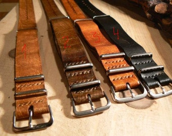 High Quality 18mm 20mm 22mm ZULU Leather Strap Watch band Crazy Horse Genuine Leather Watchband With Different Colors Horween Women Nato Men
