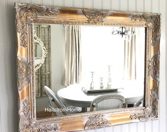 White Wash Mirror, Shabby Chic Mirror, Bathroom Mirror, Farmhouse Gold Mirror