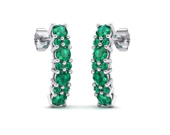 Curved Emerald Bar Earrings, Bar Earrings, Stud Earrings, Emerald Stud Earrings, Curved Bar, Emerald Stud, Natural Emerald Earrings