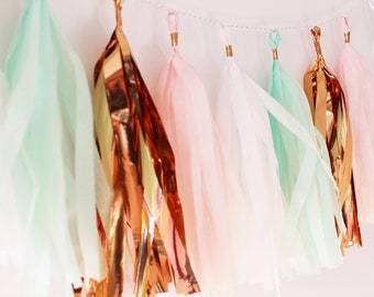 Mint to be   Mint and Blush   Mint and Pink   Mint and Rose Gold   Tassel Garland   Bridal Shower   Birthday   Baby Shower   Decorations  