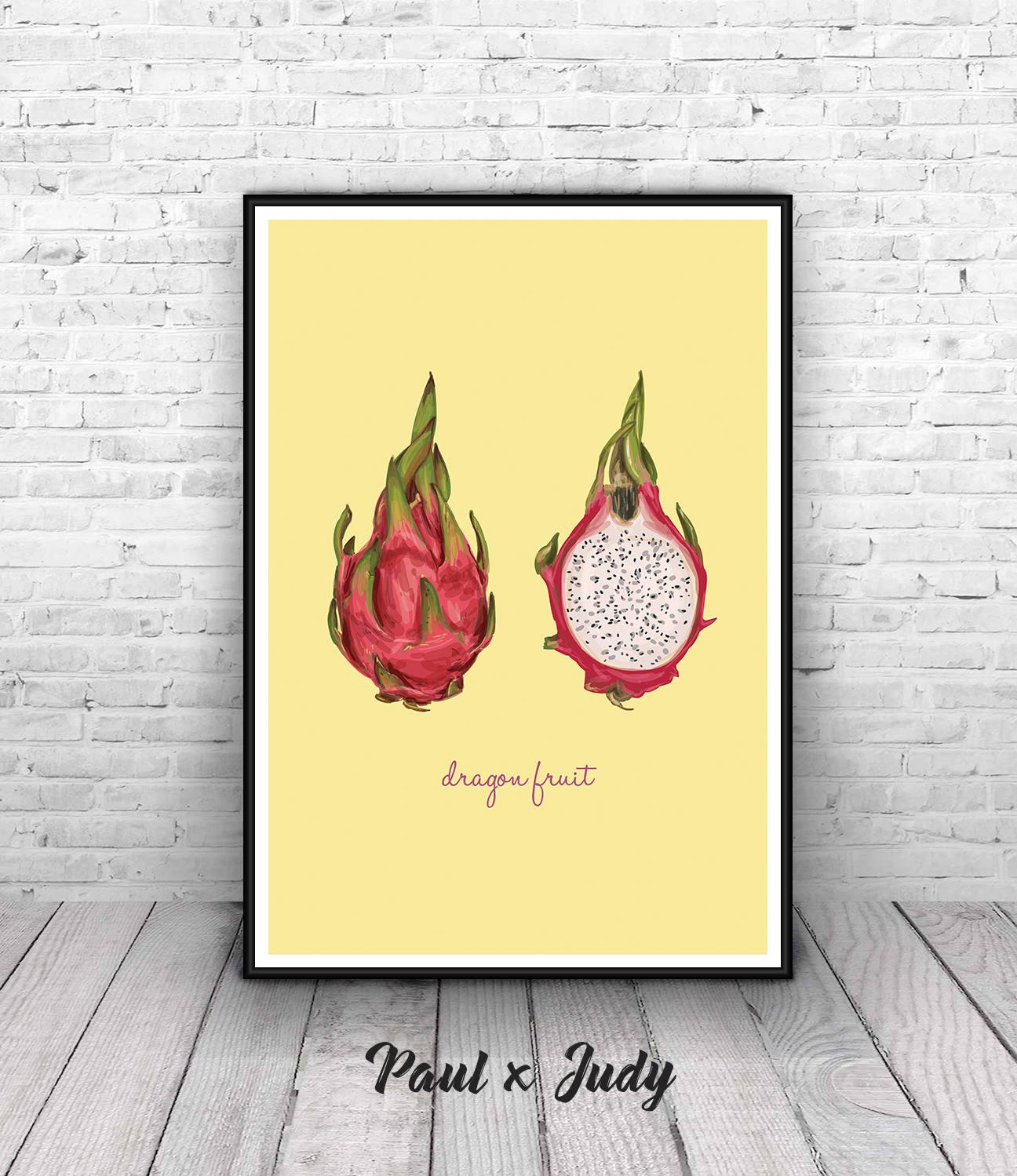 Tropical Fruit Print Dragon Fruit Wall Art Printable Large