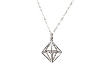 Merkaba jewelry necklace, Cage pendant, 3d pyramid necklace, 3d triangle necklace 3d geometric jewelry in sterling silver