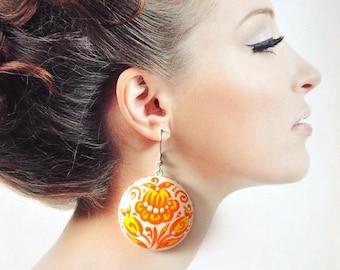 Orange yellow summer gift|for|Mother|in|Law bright yellow orange earrings dangle Drop Earrings bohemian jewelry hippie earrings|for|women