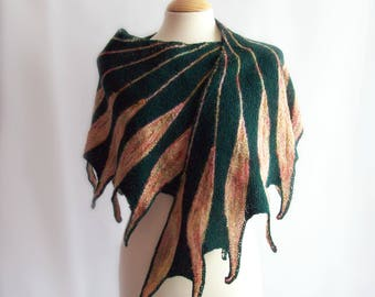 Knitted Wrap, Wool Wrap, Wool Shawl, Knit Shawl, Green Wrap, Winter Shawl, Feathers, Gift for Her, Gift for Mum, Birthday Gift