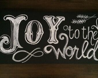 Handmade Joy to the World Chalkboard Canvas  Art