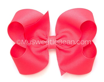 """Tutti Frutti Boutique Bow, 4 inch Grosgrain Bow, Passion Fruit Hair Bow, No Slip Basic Bows for Girls, Baby, 4""""  Toddler Bow, Fruit Punch"""