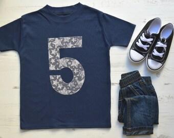 Navy Boys 5th Birthday Shirt | 5th Birthday Shirt Boy | Fifth Birthday Shirt | Toddler Birthday Outfit | Navy SS Appliqué 5