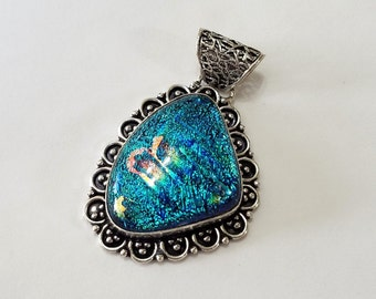 Dichroic Glass, Pendant, Sterling Silver Overlay, Necklace, Focal, Bali, Jewelry, Beading, Supply, Supplies
