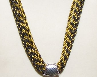 Kumihimo Triple Gold and Black Necklace with Dichroic Pendant
