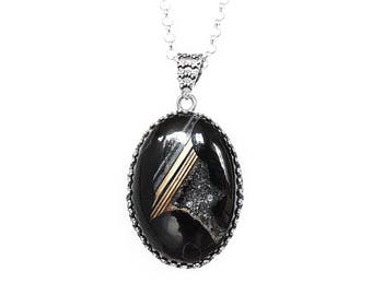 Geode Necklace in Sterling Silver - Black Banded Agate Geode