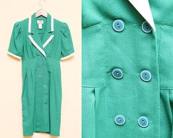 Green Blazer Dress // Double Breasted Dress // 1980s SGS Studio White Collared Short Sleeve Puffy Stewardess Secretary Costume Size 4 Small
