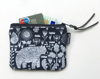 coin purse small zipper pouch coin pouch small wallet vegan boho zipper purse tiny wallet travel pouch retro purse vegan blue retro byMlous