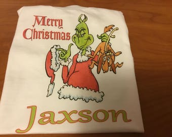 Little  boys handmade The Grinch  Christmas shirt