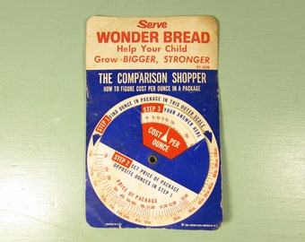 Comparison Shopper Advertising Wheel - Vintage Cost Per Ounce 1961
