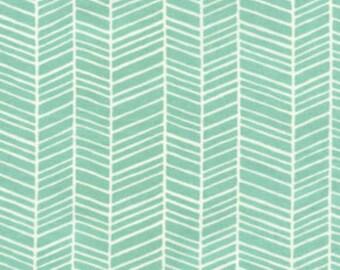 Joel Dewberry - Modern Meadow - Herringbone in Pond - cotton quilting fabric - by the YARD cut
