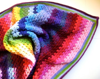 Crochet in Technicolor - Granny Blanket Pattern - Second in a Series of Four - Easy Crochet for the Beginner