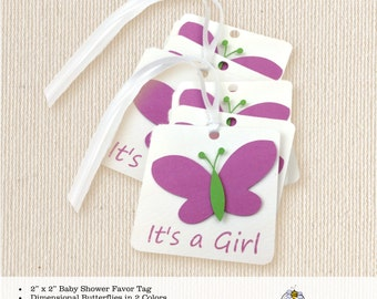 Baby Shower Favor Tag, customized, personalized, sprinkle, thank you tags, baby, girl, butterfly, dimensional, 2x2 favor tag