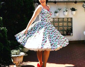 Pinup dress ' Rockabilly Girl dress in strawberry summer' gathered bust sun dress