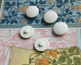 "Round buttons plain white cream polyester x 6, vintage, dishes, diameter 2.3 cm, 0.90 "", 353"