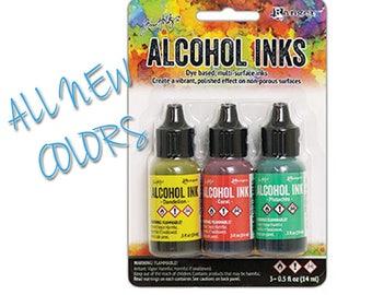 All NEW COLORS Ranger Alcohol Ink / Key West set includes 1 each, Pistachio / Dandelion / Coral  at Linda's Art Spot