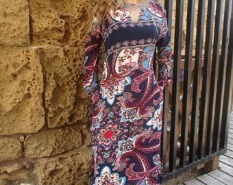 Boho Dress, Hippie Dress, Bohemian Dress, Bohemian Clothing, Tribal Dress, Ethnic Dress, Floral Dress, Boho Fashion, Blue Boho Dress