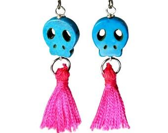 Sugar Skull Earrings, Hot Pink Tassel Earrings, Day of the Dead Jewelry, Dia de los Muertos, Rockabilly Earrings, Dangle