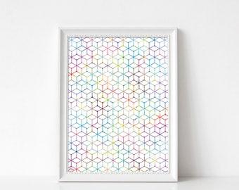 affiche scandinave, art abstrait, formes géométriques, multicolore, décoration murale, aquarelle, cadeau mariage