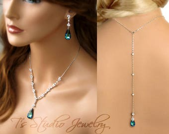 Peacock Bermuda Blue Bridal Necklace and Earring Set, with Backdrop Lariat - MARISSA