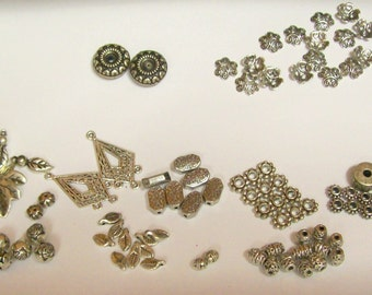 90 plus pieces ...  silver metal beads, bead caps and charms ... different sizes and shapes