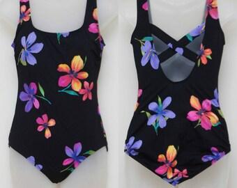 "90's Vintage ""LONGITUDE"" 1-piece Open-Back Swimsuit Sz: 8 (Never Worn)"