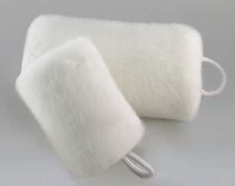 White Faux Fur Muff - FUR INSIDE & OUT, Super Soft Faux Fur Muffs