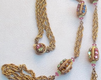 MIRIAM HASKELL Vintage Necklace Pink Green Blue Yellow Rhinestones Russian Gold Beads