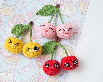 1pc Red/Pink/Yellow crochet cherries , Soft baby crochet Toy,Amigurumi cherry, Baby shower gift, Baby room Decoration
