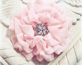 Pastel Pink Flower Hair clip.Pink Flower brooch.Light Pink Flower Headpiece.Pink Chiffon Flower.Bridesmaids Hair Piece.Wedding Hair Piece