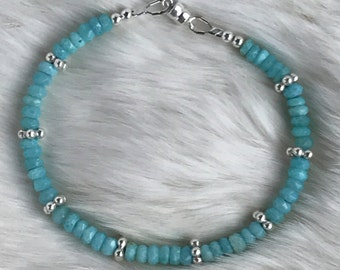 4mm Peruvian Opal, Aqua Blue, and Karen Hill Tribe Silver spacer beaded bracelet with magnetic clasp
