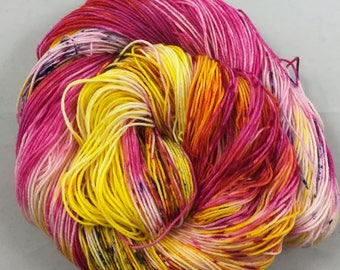 hand dyed sock yarn, Speckle City JELLY BEAN, fingering weight, superwash merino wool and nylon, 4 ply