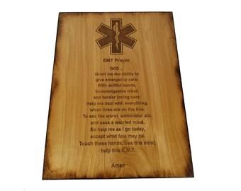 "EMT Prayer 8.5"" x 11.5"" Sign - EMT Graduation - Emergency Medical Technician"
