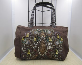 Guess Canvas Beaded and Sequined Bag in Chocolate Brown