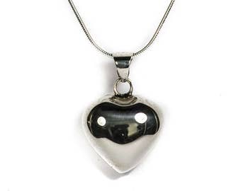 Silver heart with necklace