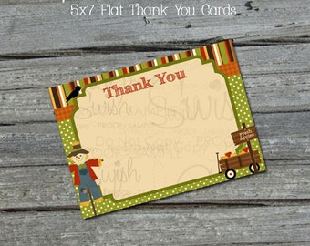 Fall Harvest Autumn 5x7 Thank You - Flat - Harvest Festival - Thanksgiving Apples - Scarecrow  - Birthday Party Cake - INSTANT DOWNLOAD
