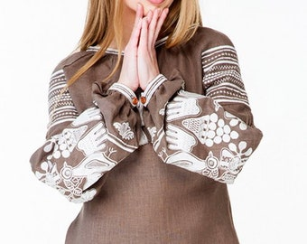 Dress Ukrainian Vyshyvanka  Embroidered Women Dress Shirt
