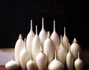 MADE TO ORDER- Grand Collection of 16 large stoneware bottle vases in classic matte white, by sarapaloma.