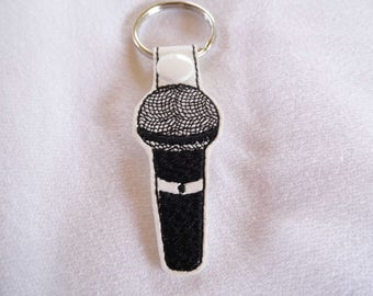 Microphone Key Fob, Key Chain, Key Ring, Zipper Pull